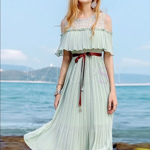Stylish Off Shoulder Elastic Waist Pleated Dress